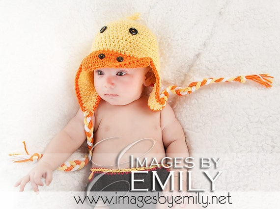 Duck Hat with Earflaps and Braids (fits newborn to adult) - orange trim and orange, yellow and white braids