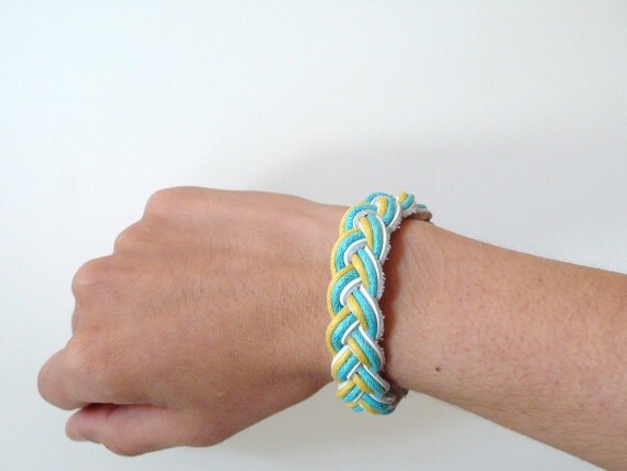 SALE - Multicolored white light blue and yellow leather braided bracelet