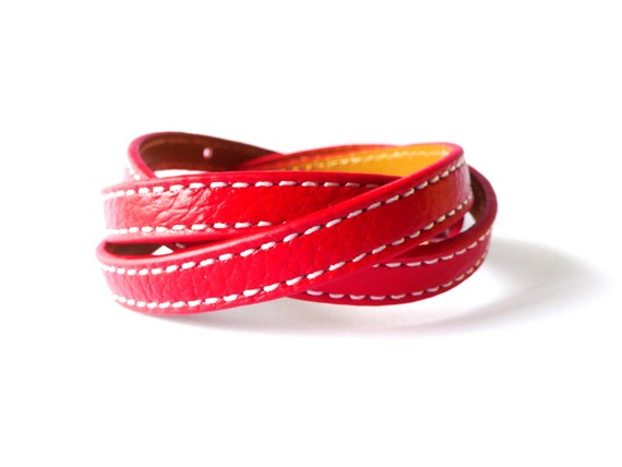 Multi Wrapped Red Leather Bracelet