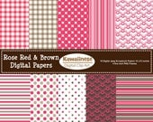 Rose Red & Brown Digital Scrapbook Paper 12 by 12 inches and 5 inch Digital Photo Frames