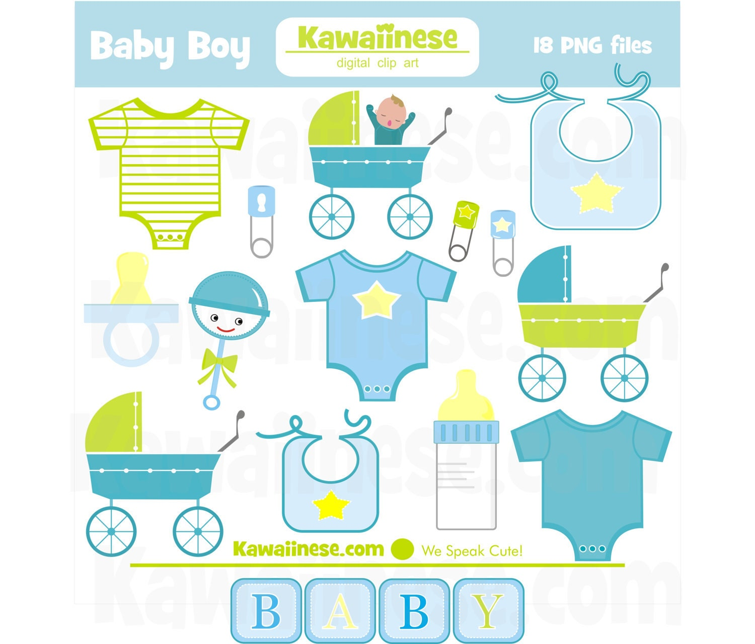 Baby boy clipart digital clip art baby shower by kawaiinese