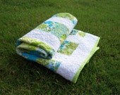 Modern crib quilt - Coin Stacks in blues and greens