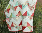 Baby Quilt - Zig Zags in Ruby