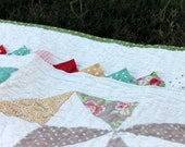 Crib Quilt - Pinwheels and Prairie Points - featuring Strawberry Fields by Moda