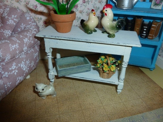Shabby Chic Country Sofa Table for Dollhouse