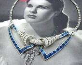 RESERVED for CarolGary1 - Boucher Art Deco Sapphire Blue Collar Choker