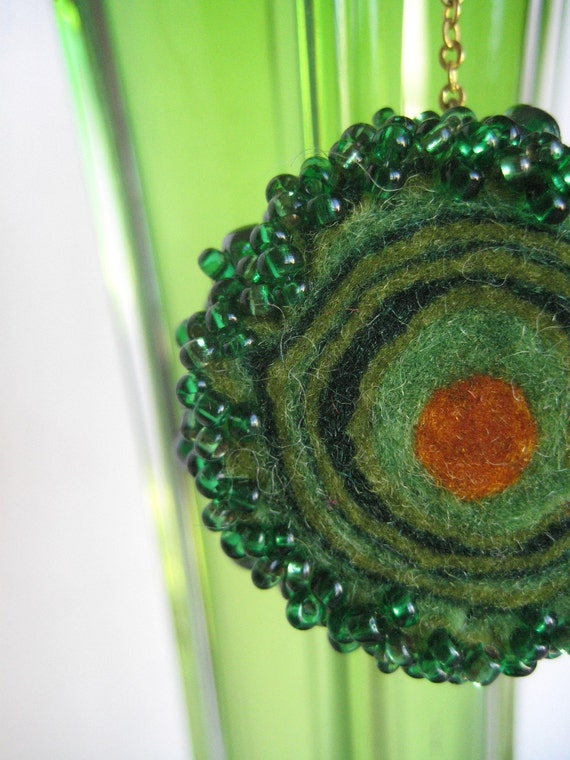 Felted earrings Green whirpool Embroidered sushi wool earrings Gift for Her Christmas gift idea Wearable art