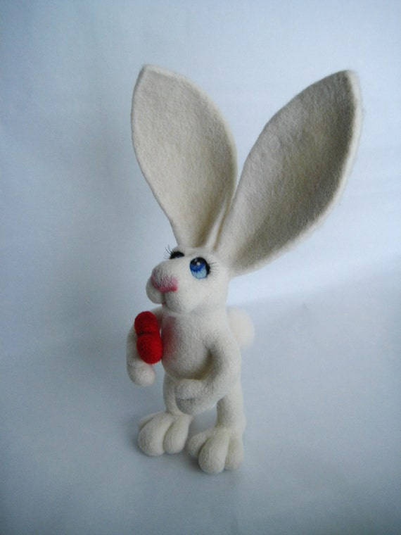 White rabbit with Valentine's heart - needle felted soft OOAK sculpture