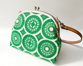 Double Frame Embroidered Green Circle Bag