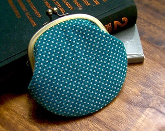 Deep Turquoise Polka Dots Coin Purse