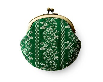 Lined Green Czech Flower Coin Purse