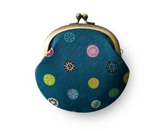 Metal frame coin purse  // Vintage Blue Old Button