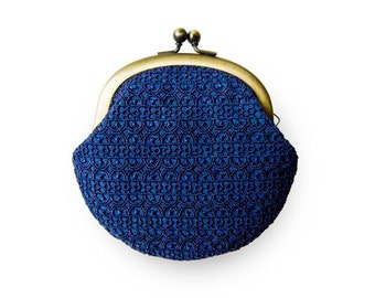 Embroidered Navy Blue Lace Coin Purse