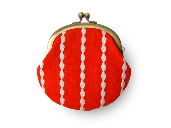 Metal frame coin purse // Rice Lace Orange