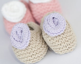 Knitted Baby Booties ~Purple Rose ~unique gift for Baby Shower, Girl Christening Baptism, New Mom Dad adoption present
