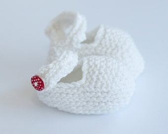 Pure White Mary Jane Style Bootie with Red and white Spotty button for Newborn