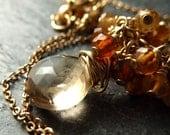 Gold Fill Handmade Necklace Beer Quartz Hessonite Garnet Golden Orange Honey Amber Light - 'Chiara'