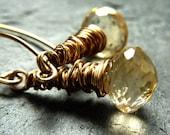 Citrine and gold fill handmade earrings - 'Sundrop'