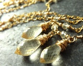 Gold Fill Handmade Necklace Champagne Scapolite Chandelier Glowing Candlelight - 'Lumiere'