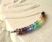 Rainbow Gemstone Necklace Sterling Silver Multicolor Rondelle Roy G Biv Wizard of Oz Dorothy - 'Over the Rainbow'