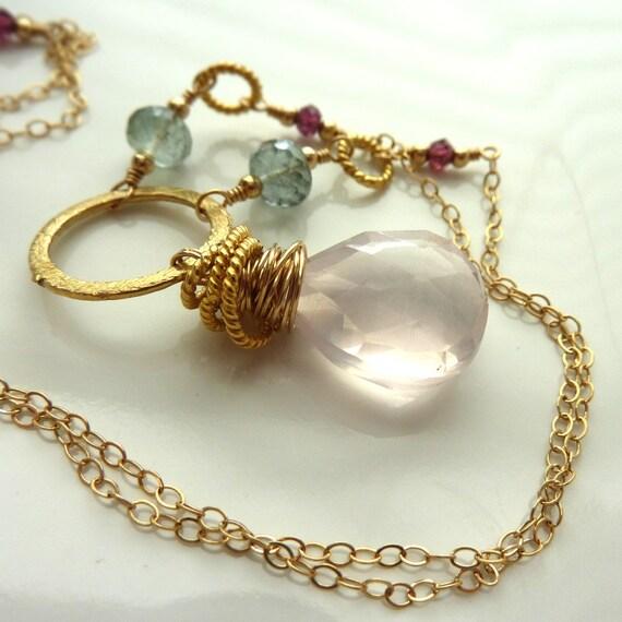 Rose Quartz Necklace Moss Aquamarine Garnet Gold Fill Vermeil Gemstone English Garden - 'Bellarosa'
