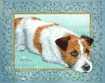 Jack Russell Terrier Giclee Fine Art Print, Turquoise Border, Signed A E Ruffing, on 8.5 x 11 inch art paper