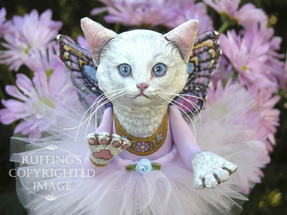 Art Doll, OOAK Original White Pixie Kitten, Hand Painted Folk Art Sculpted Cat, Opal by Max Bailey and Elizabeth Ruffing