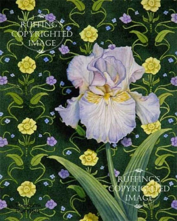 Lavender Iris on Green Floral Art Nouveau Wallpaper Pattern Giclee Fine Art Print, Signed Elizabeth Ruffing, on 8.5 x 11 inch art paper