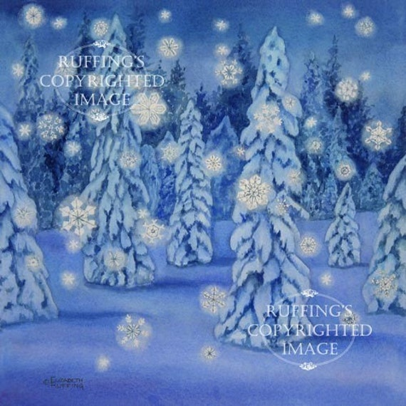 Snowy Night Giclee Fine Art Print, Blue Snow Scene with Snowflakes, Signed Elizabeth Ruffing, on 8.5 x 11 inch art paper