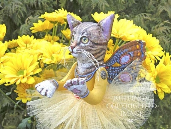 Celeste the Pixie Kitten, Chrysanthemums, Giclee Photo Print Signed Max Bailey and Elizabeth Ruffing, Version 2, 6x8 on 8x10 inch art paper