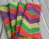 Primary Colors Chevron Pattern Clloth Napkins Made from Vintage Cloth