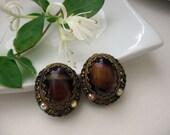 Vintage Earrings Clip On Tigerseye Rhinestones Brown Bronze Gold