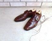 brown shoe men's oxford loafer buckle vintage