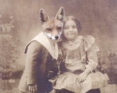 Fox Art Print, Anthropomorphic Collage Print, My Fox Boyfriend, 5x7 Altered Antique Photo, Animal Art, frighten