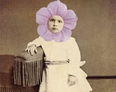 Mixed Media Collage Print, Sepia and Violet Flower Art, Petunia, Altered Children's Portrait - frighten