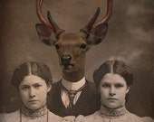 8x10 Deer Art Print, Mixed Media Collage Print, 8x10 Altered Vintage Family Photo, Brother Deer, frighten