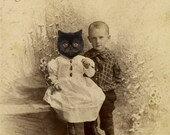 Persian Cat Art Print, My Sister Was a Cat, Mixed Media Collage Print, 5x7 Altered Antique Portrait of Brother and Sister, frighten