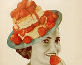 Food Art, Paper Collage Print, Strawberry Art, Desert Art, Retro Art, Kitchen Decor, Surreal Art Print, Weird Wall Art