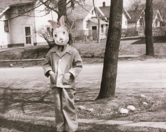 Weird Easter Art, Rabbit Mask Art, Black and White Art, Girl with Bunny Mask, Vintage Photography