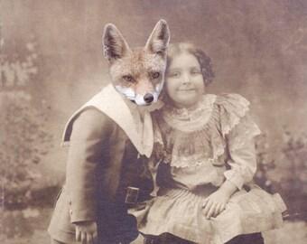 Fox Art Print, Anthropomorphic Collage Print, My Fox Boyfriend, 5x7 Altered Antique Photo, Animal Art, frighten