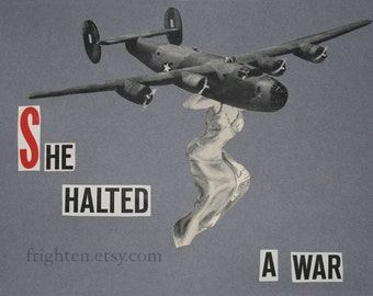 One of a Kind Paper Collage, Black and Gray Vintage Airplane Retro Wall Art