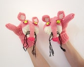 Hand knit Pink Panther mittens gloves with polymer clay buttons