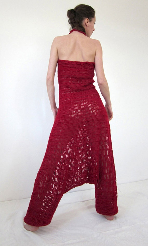 Crochet harem pants overall in deep red
