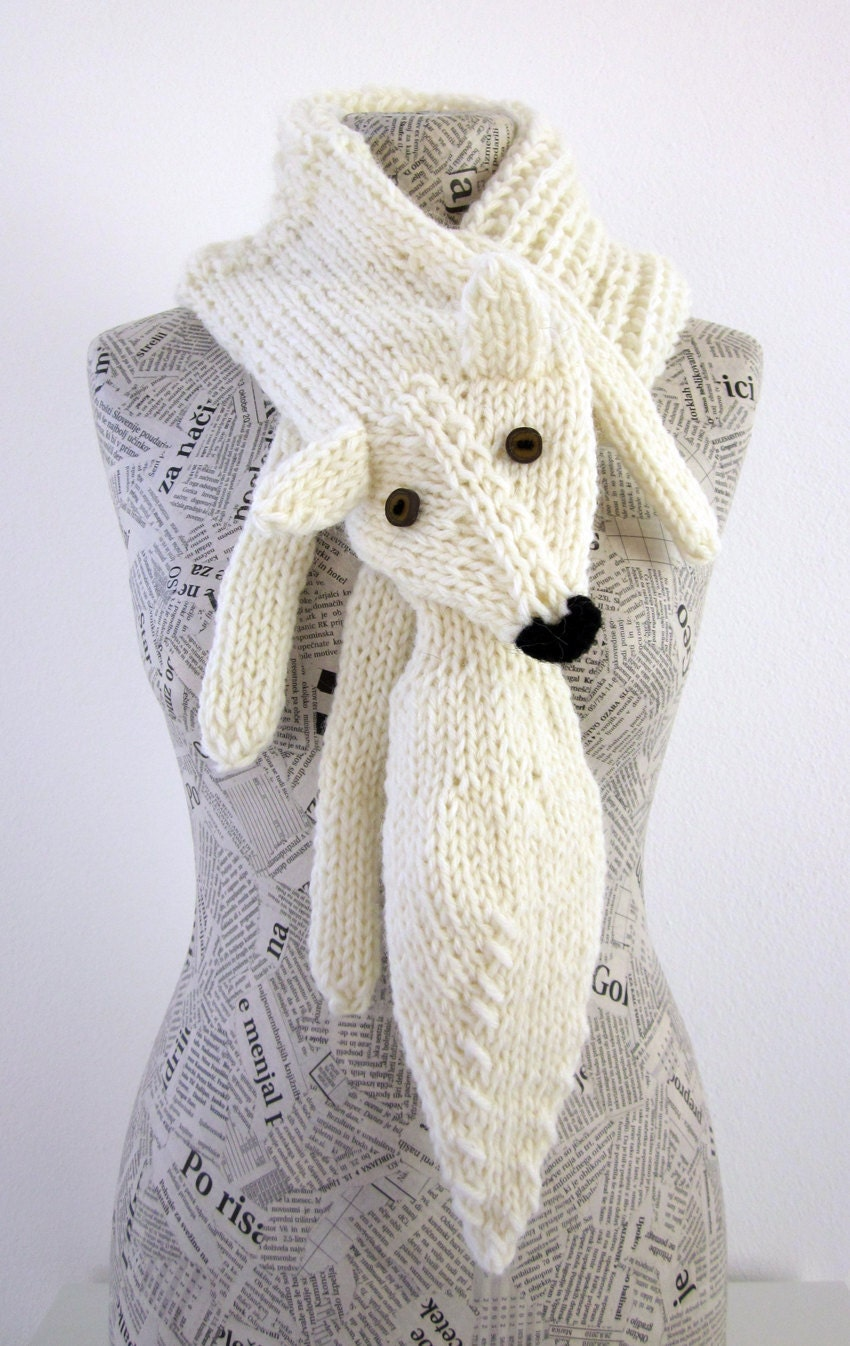 Knitting Pattern Fox Scarf : Hand knit fox scarf in white with polymer clay buttons