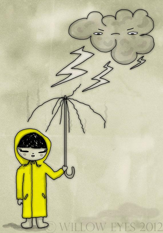 "SALE 30% DISCOUNT Lightning Girl - 7""x10"" inches Cute Art Print. Girl holding an umbrella, struck by lightning"