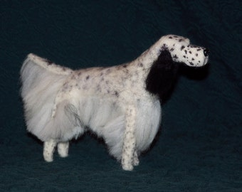 English Setter needle felted dog example custom made to order