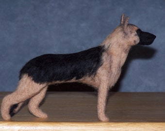 German Shepherd needle felted dog example custom made to order