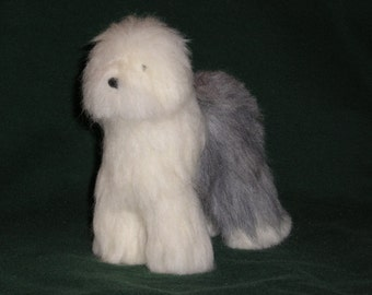 Old English Sheepdog needle felted dog example custom made to order