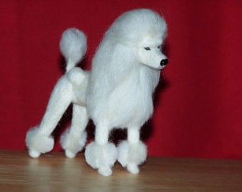 Poodle needle felted dog example custom made to order