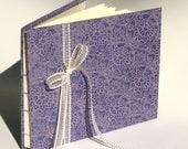 Lavender Guest Book / Sketch Book- Coptic Stitch Binding, Floral Motif Cover, Ribbon, Hand Bound